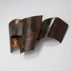 Jacques Couelle Illuminating Brutalist Wall Lamp in Folded Copper Leaf - 1688389