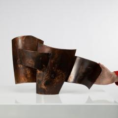 Jacques Couelle Illuminating Brutalist Wall Lamp in Folded Copper Leaf - 1688393