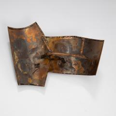 Jacques Couelle Illuminating Brutalist Wall Lamp in Folded Copper Leaf - 1688422