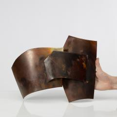 Jacques Couelle Illuminating Brutalist Wall Lamp in Folded Copper Leaf - 1688423