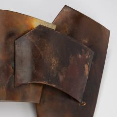 Jacques Couelle Illuminating Brutalist Wall Lamp in Folded Copper Leaf - 1688424