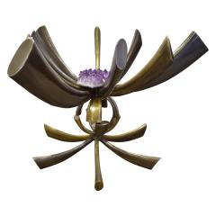 Jacques Duval Brasseur Jacques Duval Brasseur Rare Table In Bronze With Mounted Amethyst 1970s Signed  - 1228067