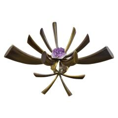 Jacques Duval Brasseur Jacques Duval Brasseur Rare Table In Bronze With Mounted Amethyst 1970s Signed  - 1228068