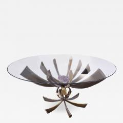 Jacques Duval Brasseur Jacques Duval Brasseur Rare Table In Bronze With Mounted Amethyst 1970s Signed  - 1228778