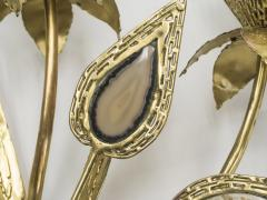 Jacques Duval Brasseur Large pair of signed J Duval Brasseur brass and agate wall lights 1970s - 997101