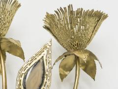 Jacques Duval Brasseur Large pair of signed J Duval Brasseur brass and agate wall lights 1970s - 997105