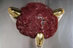 Jacques Duval Brasseur Midcentury Modern Abstract Relief Wall Sculpture in Brass Carnelian Red Coral - 1613178