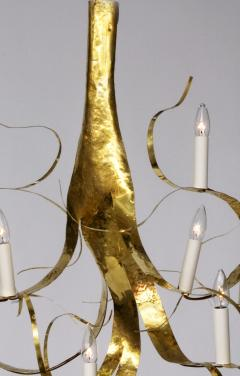 Jacques Jarrige 7 Light Chandelier in Brass Fiori  - 1339974