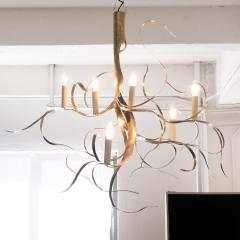 Jacques Jarrige 7 Light Chandelier in Brass Fiori  - 1339975