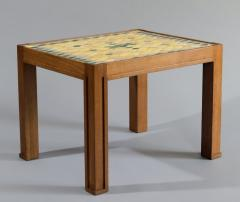 Jacques Lenoble Oak and Glazed Ceramic Tile Occasional Table - 528633