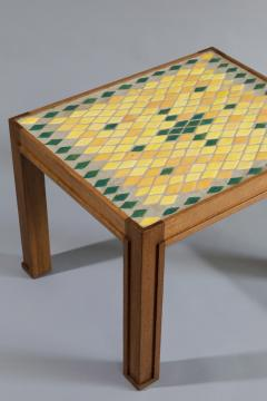 Jacques Lenoble Oak and Glazed Ceramic Tile Occasional Table - 530503
