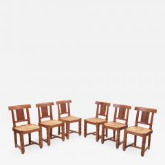 Jacques Mottheau Set of Six Wooden Chairs by Jacques Mottheau France 1930s - 1045110