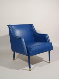 Jacques Quinet Armchair Footstool in Blue Stitched Moleskin by Jacques Quinet - 519349