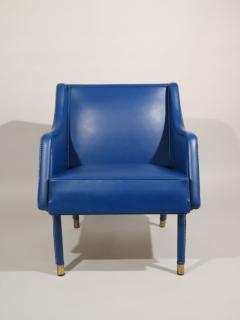 Jacques Quinet Armchair Footstool in Blue Stitched Moleskin by Jacques Quinet - 519350