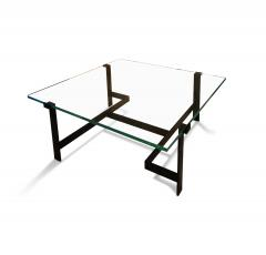 Jacques Quinet Coffee Table Model No 15254 with Minimalist Iron Frame by Jacques Quinet - 891834