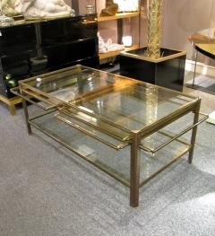 Jacques Quinet Coffee table with pulls in bronze and glass Jacques Quinet France circa 1960 - 1227802