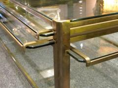 Jacques Quinet Coffee table with pulls in bronze and glass Jacques Quinet France circa 1960 - 1227803