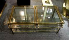 Jacques Quinet Coffee table with pulls in bronze and glass Jacques Quinet France circa 1960 - 1227804