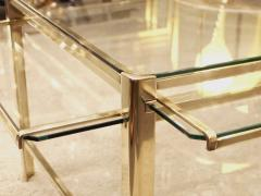 Jacques Quinet Coffee table with pulls in bronze and glass Jacques Quinet France circa 1960 - 1227805
