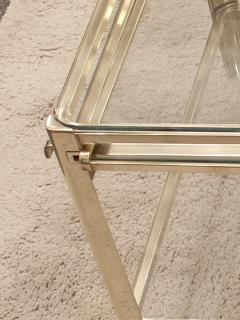 Jacques Quinet Coffee table with pulls in bronze and glass Jacques Quinet France circa 1960 - 1227807