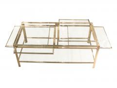 Jacques Quinet Coffee table with pulls in bronze and glass Jacques Quinet France circa 1960 - 1229223