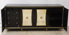 Jacques Quinet French Modern Black Lacquer Parchment Buffet Attributed Jacques Quinet - 1699573