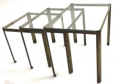 Jacques Quinet Jacques Quinet Bronze and Glass 3 nesting table set - 1119615