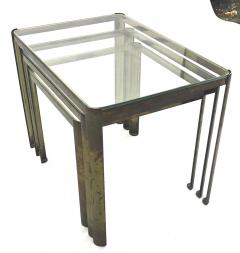 Jacques Quinet Jacques Quinet Bronze and Glass 3 nesting table set - 1119622