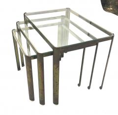 Jacques Quinet Jacques Quinet Bronze and Glass 3 nesting table set - 1119623