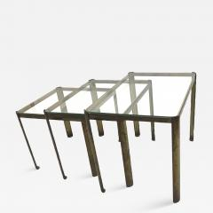 Jacques Quinet Jacques Quinet Bronze and Glass 3 nesting table set - 1120133