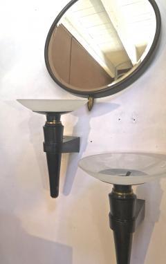 Jacques Quinet Jacques Quinet superb oxidized bronze and glass pair of sconces - 998225