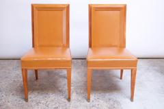 Jacques Quinet Pair of Jacques Quinet Occasional Chairs in Leather and Mahogany - 1072526