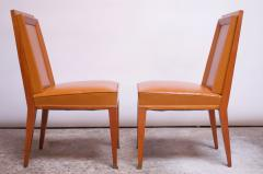 Jacques Quinet Pair of Jacques Quinet Occasional Chairs in Leather and Mahogany - 1072527