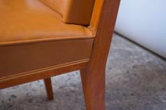 Jacques Quinet Pair of Jacques Quinet Occasional Chairs in Leather and Mahogany - 1072534