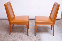 Jacques Quinet Pair of Jacques Quinet Occasional Chairs in Leather and Mahogany - 1072535