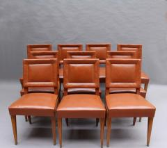 Jacques Quinet Rare Set of 10 Leather and Mahogany Chairs by Jacques Quinet - 2004645
