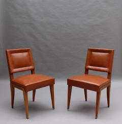 Jacques Quinet Rare Set of 10 Leather and Mahogany Chairs by Jacques Quinet - 2004647