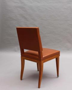 Jacques Quinet Rare Set of 10 Leather and Mahogany Chairs by Jacques Quinet - 2004648