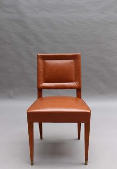 Jacques Quinet Rare Set of 10 Leather and Mahogany Chairs by Jacques Quinet - 2004649