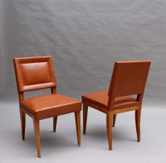 Jacques Quinet Rare Set of 10 Leather and Mahogany Chairs by Jacques Quinet - 2004666