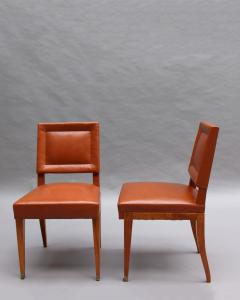 Jacques Quinet Rare Set of 10 Leather and Mahogany Chairs by Jacques Quinet - 2004732