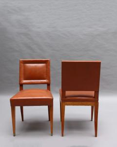 Jacques Quinet Rare Set of 10 Leather and Mahogany Chairs by Jacques Quinet - 2004738