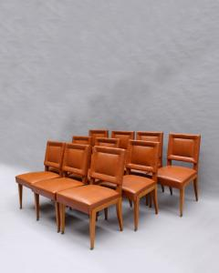 Jacques Quinet Rare Set of 10 Leather and Mahogany Chairs by Jacques Quinet - 2004747