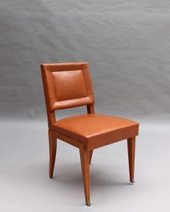 Jacques Quinet Rare Set of 10 Leather and Mahogany Chairs by Jacques Quinet - 2004748