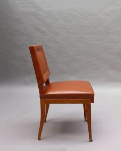 Jacques Quinet Rare Set of 10 Leather and Mahogany Chairs by Jacques Quinet - 2004749