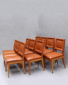 Jacques Quinet Rare Set of 10 Leather and Mahogany Chairs by Jacques Quinet - 2004756