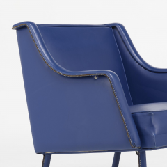 Jacques Quinet stylish armchair Footstool in Blue Stitched Moleskin - 2090049