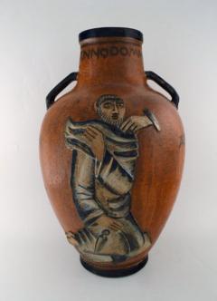 Jais Nielsen Colossal floor vase with handles in glazed ceramics - 1412650