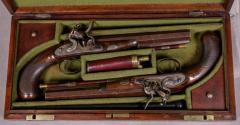 James Collins Cased Pair Flintlock Target Dueling Pistols by Collins of London - 1508686