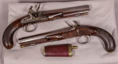 James Collins Cased Pair Flintlock Target Dueling Pistols by Collins of London - 1508690